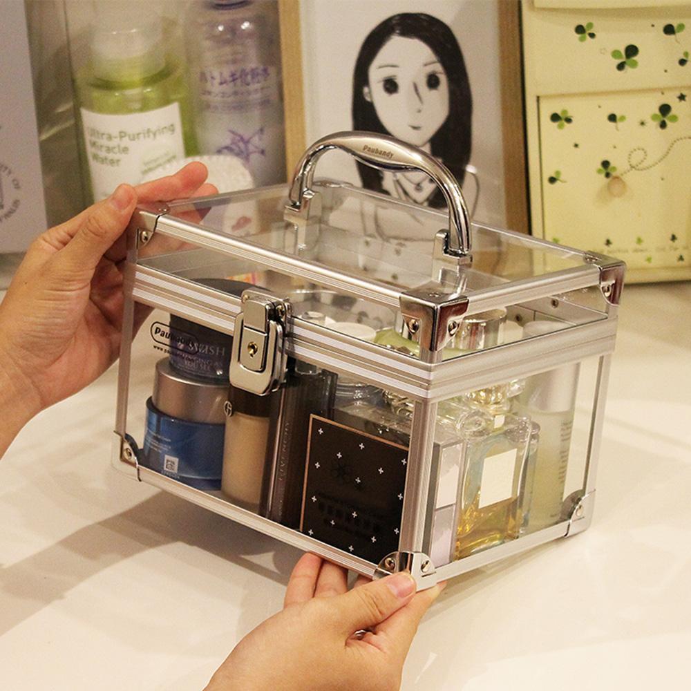 2019 Acrylic Makeup Box Organizer With Lock Aluminium Alloy Makeup