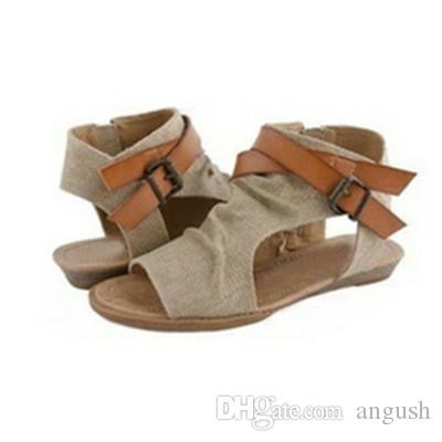 ANGUSH Mode Sandalen Frauen 2018 Neueste Casual Plus Size Schuhe Rom Stil Flachboden Leinwand Sandalen Weibliche Schuhe Braun Khaki Schwarz Grau