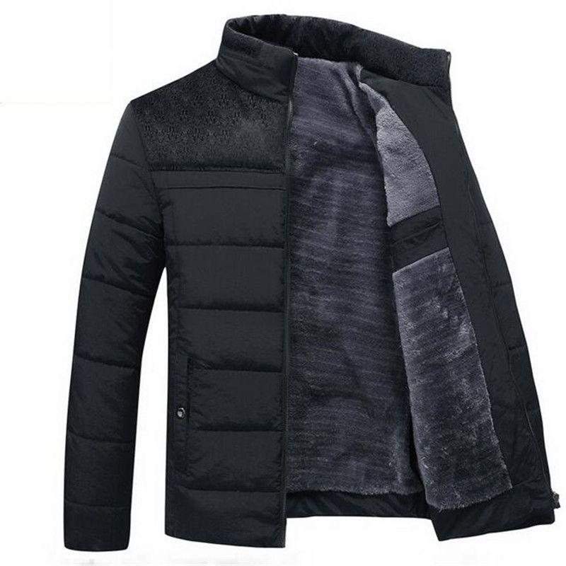 Mens Hiver Veste Nouveau Plus Cachemire Blouson Homme Mâle Stand Collar Business Manteau Garder Chaud Épais Épissage coton vêtements