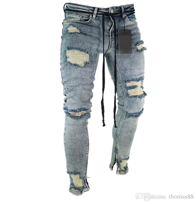 f55740c281 Compre Destroyed Jeans Homens Lavado Calças Lápis Azul Jeans Com Zíper  Perna Rasgado Jeans Plus Size Atacado Frete Grátis De Thomas88
