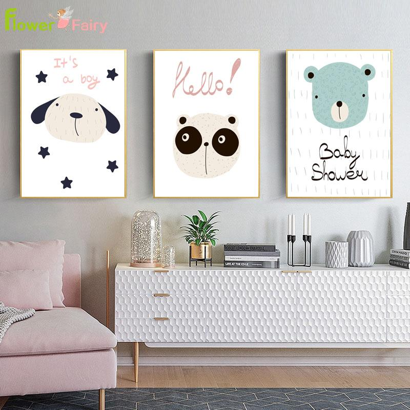 Kids Room Nordic Poster Cartoon Baby Wall Art Pictures Canvas Painting For  Living Room Posters Prints Nursery Bear Unframed UK 2019 From Hilery, ...