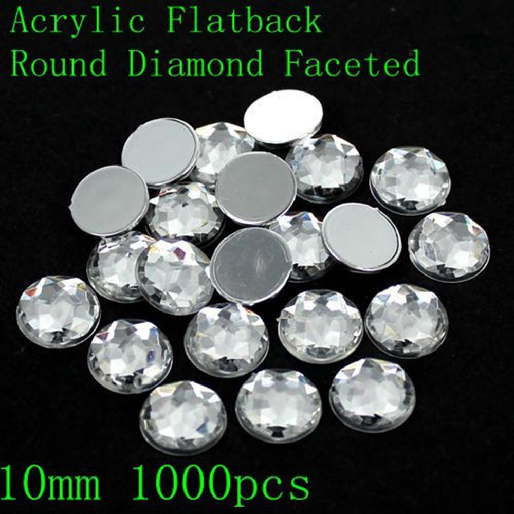 Acrílico Rhinestones Crystal Color Muchos Tamaños Redondo Flatback Redondo Facetado Diseño Nail Art Glue On Beads DIY Decoración