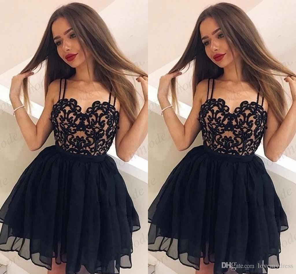 94006b3521de 3D floral applique curto vestidos de festa espaguete aberto voltar vestido  de baile ruched curto prom dress homecoming dress vestidos de formatura ...