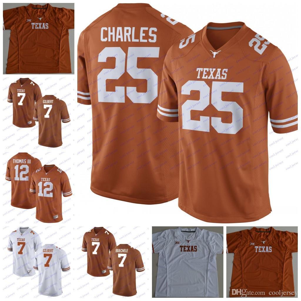 new arrival c6de7 6eb51 NCAA Texas Longhorns College Football #7 Shane Buechele 25 Jamaal Charles  12 Earl Thomas III Garrett Gilbert White Orange Jerseys Stitched
