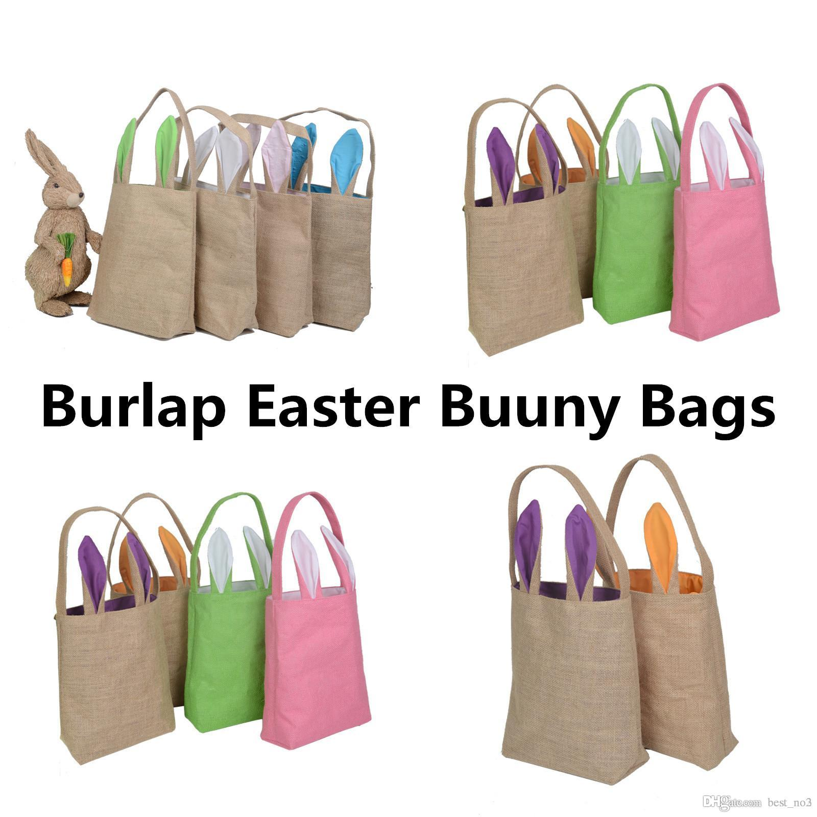 Burlap easter basket easter decorations for home bunny ear gift bags burlap easter basket easter decorations for home bunny ear gift bags with ears funny cute easter rabbit birthday party nar051 easter gift bags bunny ears negle