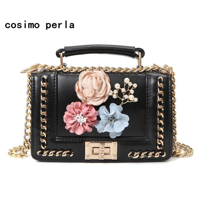 Cute Handmade Flowers Handbags With Chain