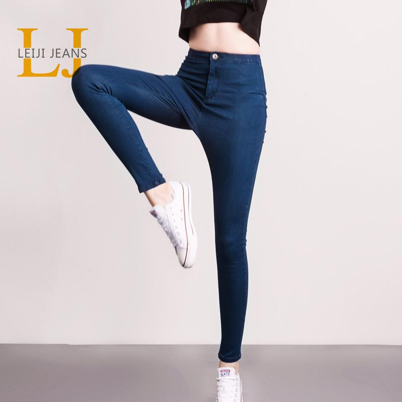 9e2da992b74 2019 LEIJIJJEANS 2018 Hot Summer Fashion Plus Size Solid High Waist Full  Length Women Casual Stretch Skinny Pencil JeansY1882501 From Zhengrui06