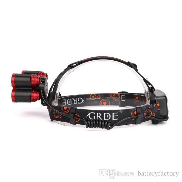CREE 5 * LED XML T6 фары 8000 люмен 4 режим масштабируемые фары аккумуляторная Фара фонарик + 2 * 18650 аккумулятор + AC / DC зарядное устройство