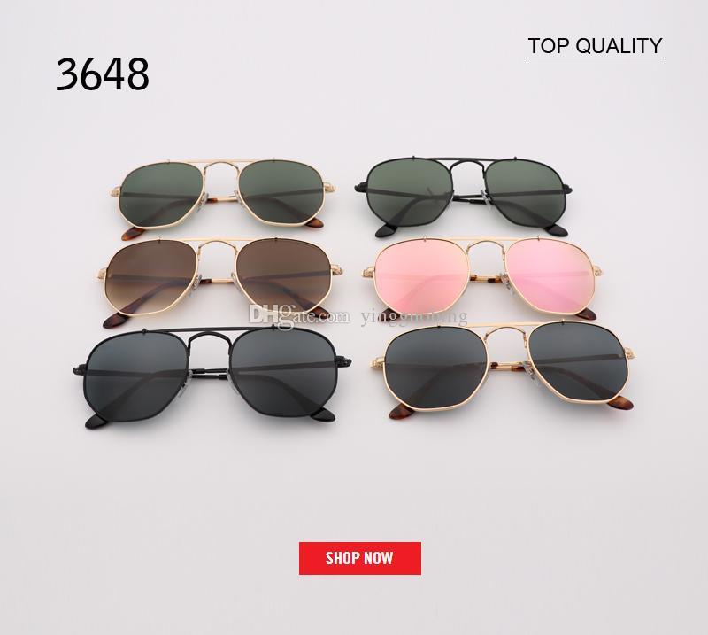b841648e774 2018 Top Quality Men S Sunglasses Unisex Style Metal Hinges UV400 Gradient  Flash Lens Vintage Square Original Oculos De Sol Masculino 3648 Sunglasses  For ...