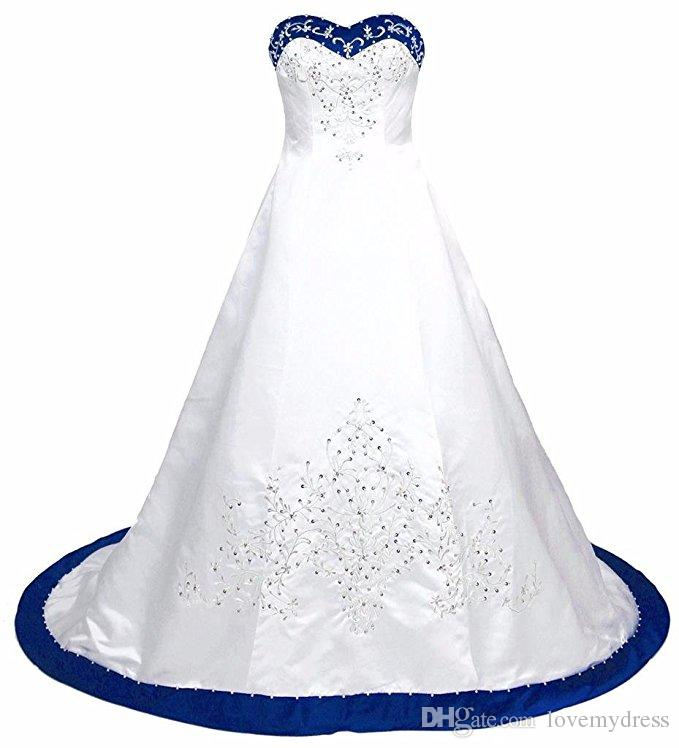 Royal Blue and White Wedding Dress Stickerei Prinzessin Satin A Line Lace Up Hinter Court Trainings Pailletten Perlen lange billige Brautkleider