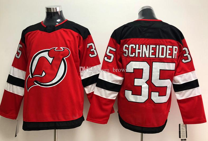 2017-2018 Season New Jersey Devils Jersey 9 Taylor Hall 13 Nico Hischier 30 Martin Brodeur 35 Cory Schneider Red White Hockey Jerseys