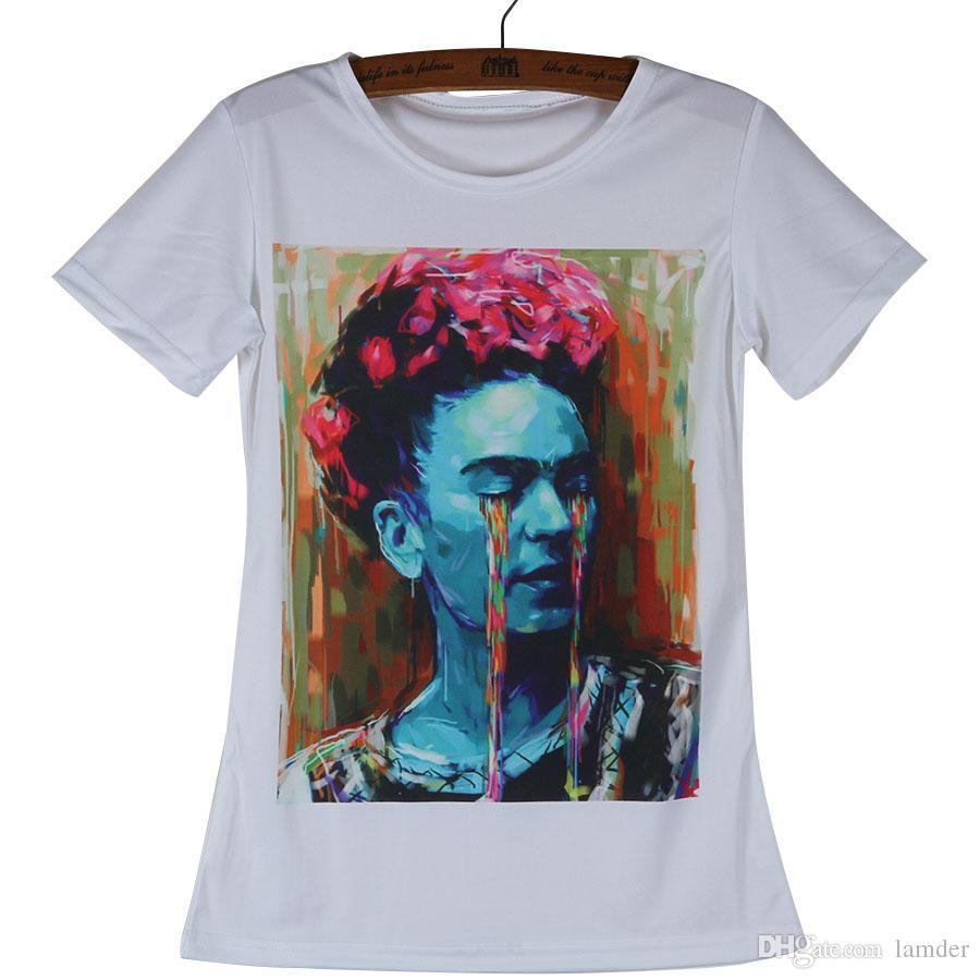 50bcd37f4bdc0 Compre Camisetas Al Por Mayor Baratas De Moda Frida Kahlo Camisetas De  Poliéster Mujer Camiseta Blanca De Manga Corta Con Cuello Redondo Tops  Mujer Ropa ...