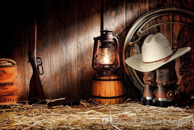 Satın Al 7x5ft Vahşi Batı Döken Ahşap Kulübe Kovboy Silah şapka