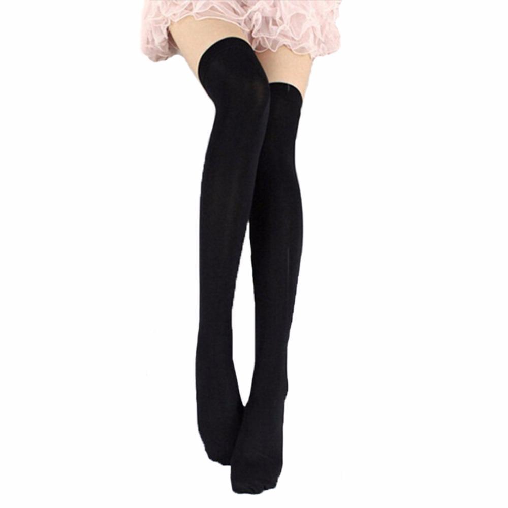 07d8b50a020 Cheap Thigh High Black Knit Socks Best Cotton Thigh High Black Stockings