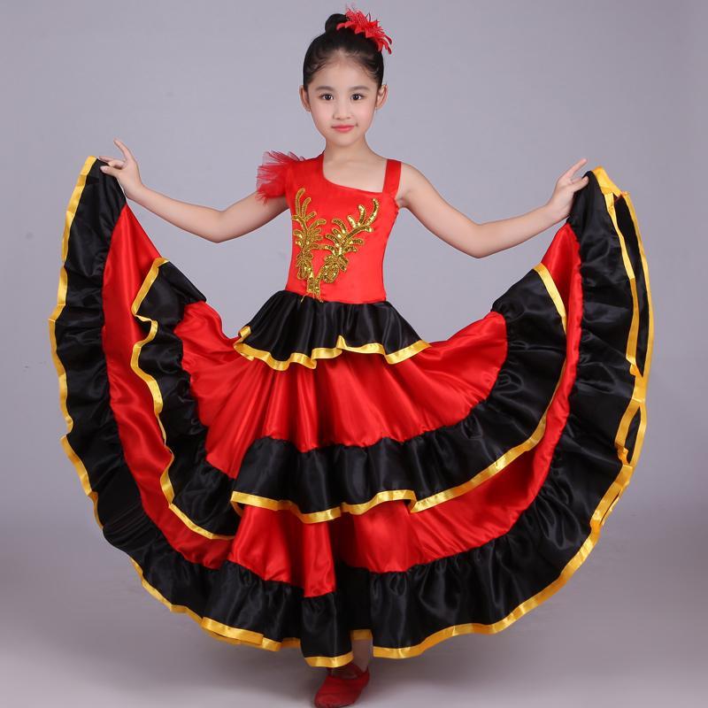 Spanisch Ballsaal Spanien Mädchen Mit Bauchtanz Flamenco Kinder Kostüm Kopf Rot Tribal Blume Kleid shQdtr