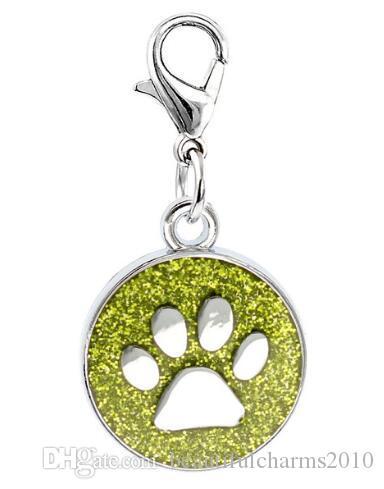 는 / 많은 색상의 18mm는 DIY 열쇠 고리 패션 jewelrys에 대한 랍스터 버클 착용감 펜던트 매력을 걸어 고양이 개 발 인쇄 발자국