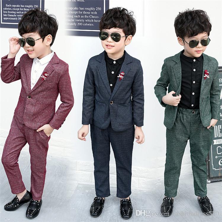 2 шт./компл. дети мальчики костюмы для свадьбы дети Blazer мальчиков одежда устанавливает формальные классические костюмы дети свадебные костюмы для мальчика 3-8Y
