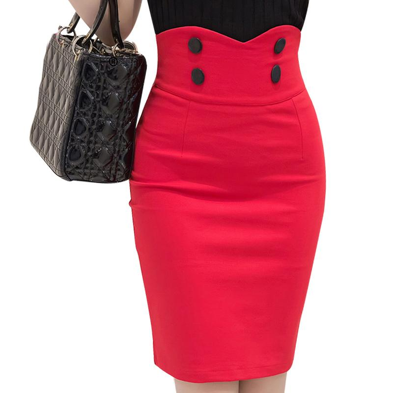 15f28f9e24 2019 2016 Slim Fit Bodycon Tight Skirt Business Wear Buttons Big Size  Ladies Office Skirt High Waist Women Pencil S2193 From Salom, $25.42 |  DHgate.Com