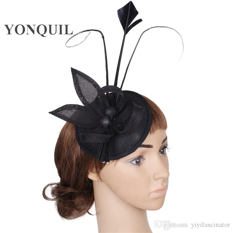 eeca6fd86e1 High Quatily Women Wedding Fascinator Base With Ostrich Quill Adorned Bead  Hat DIY Millinery Occasion Decorative Headwear Yellow Clips SYF24 Gold Hats  Hair ...