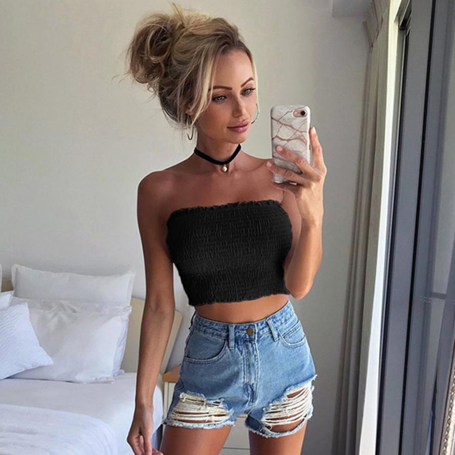 64c1b915d33ea 2019 Women Strapless Elastic Crop Tops Bra Lingerie Breast Wrap Sexy Girls  Yoke Frill Trim Slim Tank Top Haut Femme #9 From Liasheng10, $18.44 |  DHgate.Com