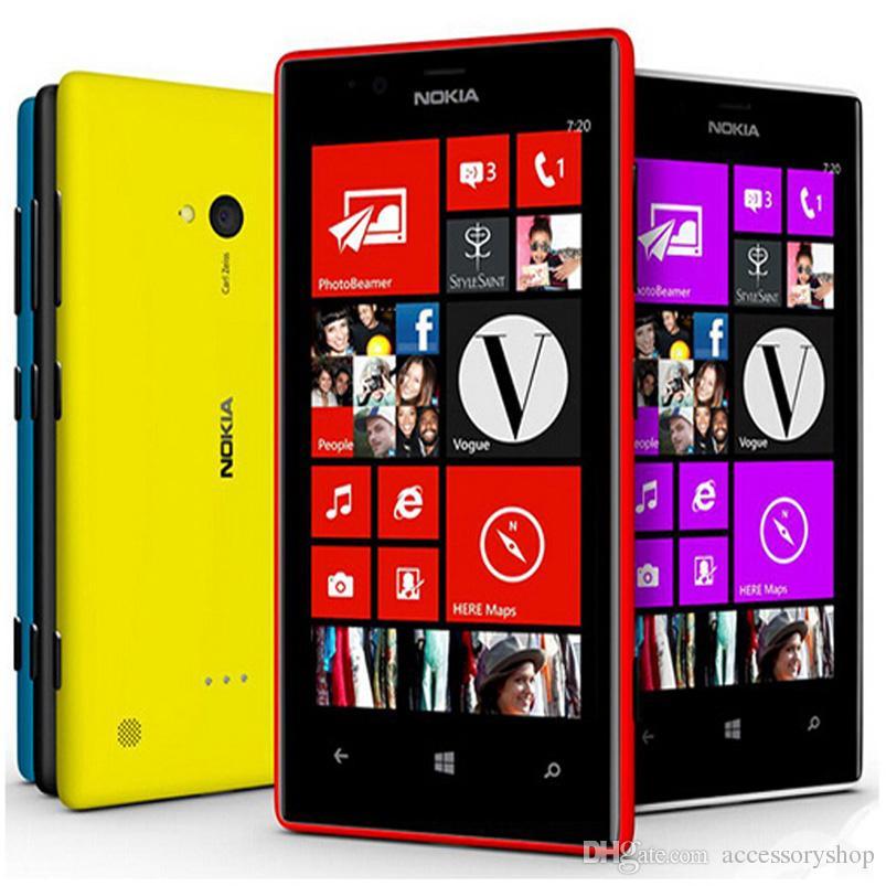 Refurbished Original Nokia Lumia 720 Windows Phone 4 3 inch Dual Core 8GB  ROM 6 7MP Camera WIFI GPS 3G Unlocked Mobile Phone Free DHL 5pcs