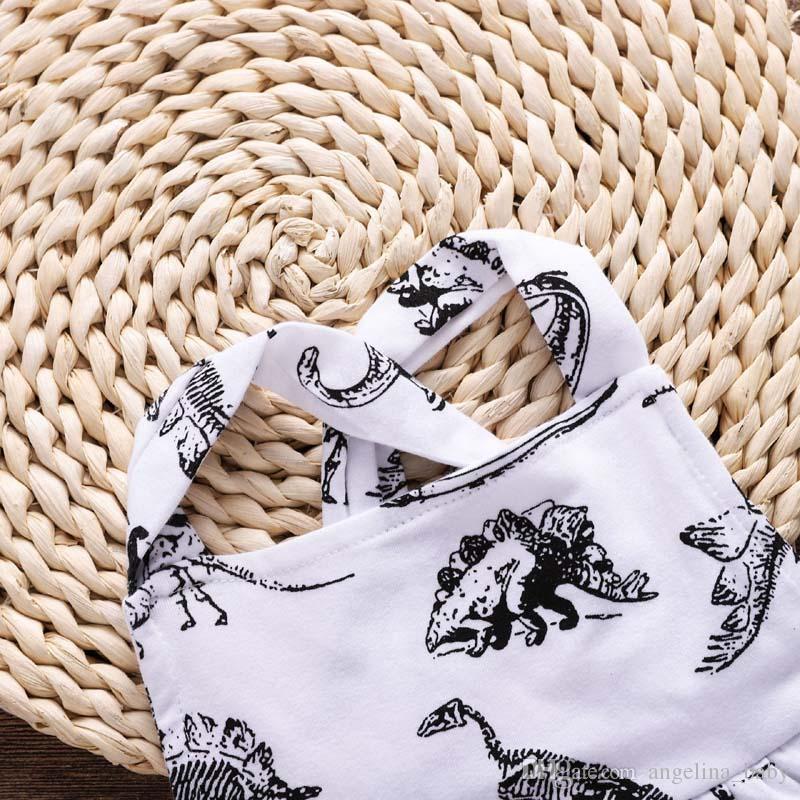 2018 New Baby Girl Dresses Dinosaur animale stampato Halter Cotton Back Cross Dress Estate Abbigliamento bambini 6M-3T Spedizione gratuita Z11