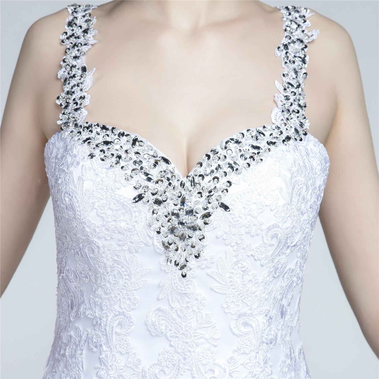 Сексуальный Белый Русалка свадебное платье европейский стиль спагетти блестящие блестки бусины вдоль ремень спинки кружева пляж свадебные платья