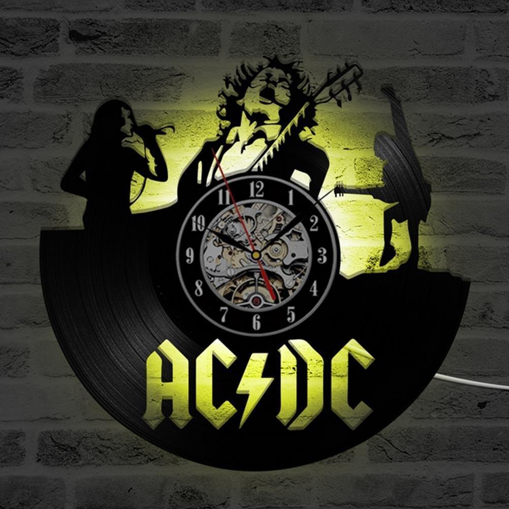 Wall Clock Rock Band CD Record LED