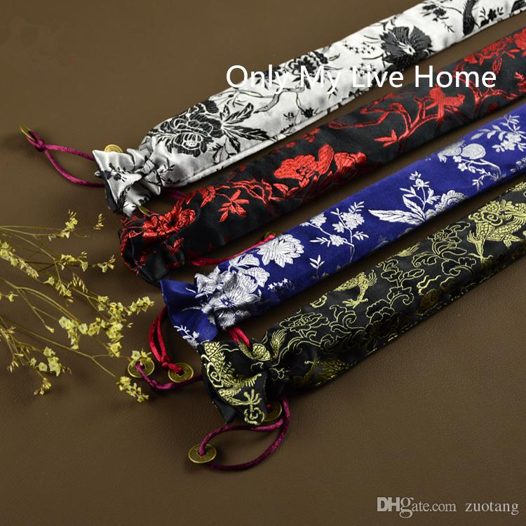 Flower Birds Drawstring Hand Fan Case Pouch Handmade Chinese style Silk Brocade 7 to 10 inches Folding Fan Cover Bag Packaging /llot