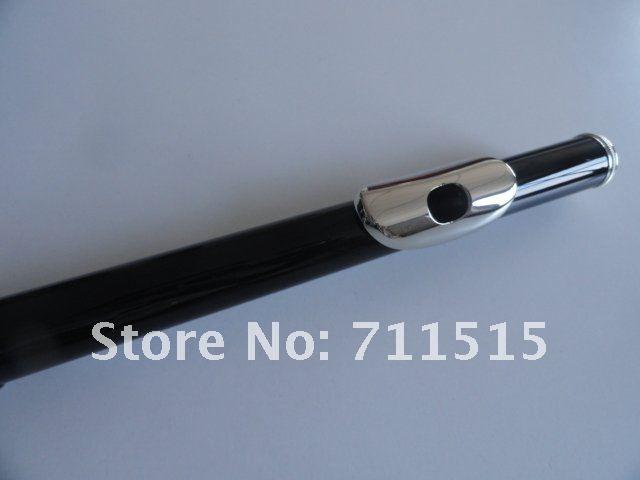 Exquisitos estudiantes de MARGEWATE 16 hoyos cerrados más The E Key Obturator Flute Instrumento musical Black Surface Silver Plated Key Flute