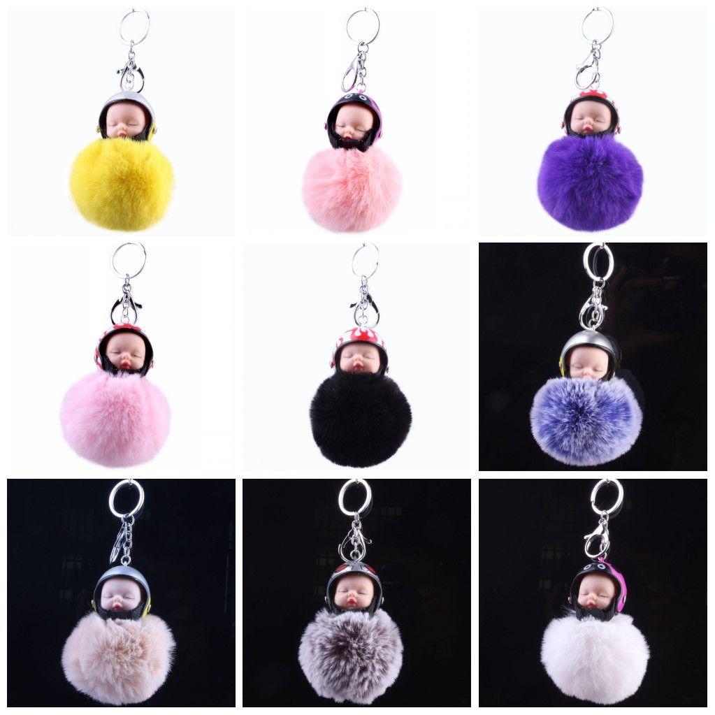 For Car Keys Buckle Plush Hair Ball Motorcycle Helmet Sleeping Baby Doll Key  Ring Soft Women Keychain Cute 7 02gf B Key Chain Key Rings From Sd005 eddadf5b2d