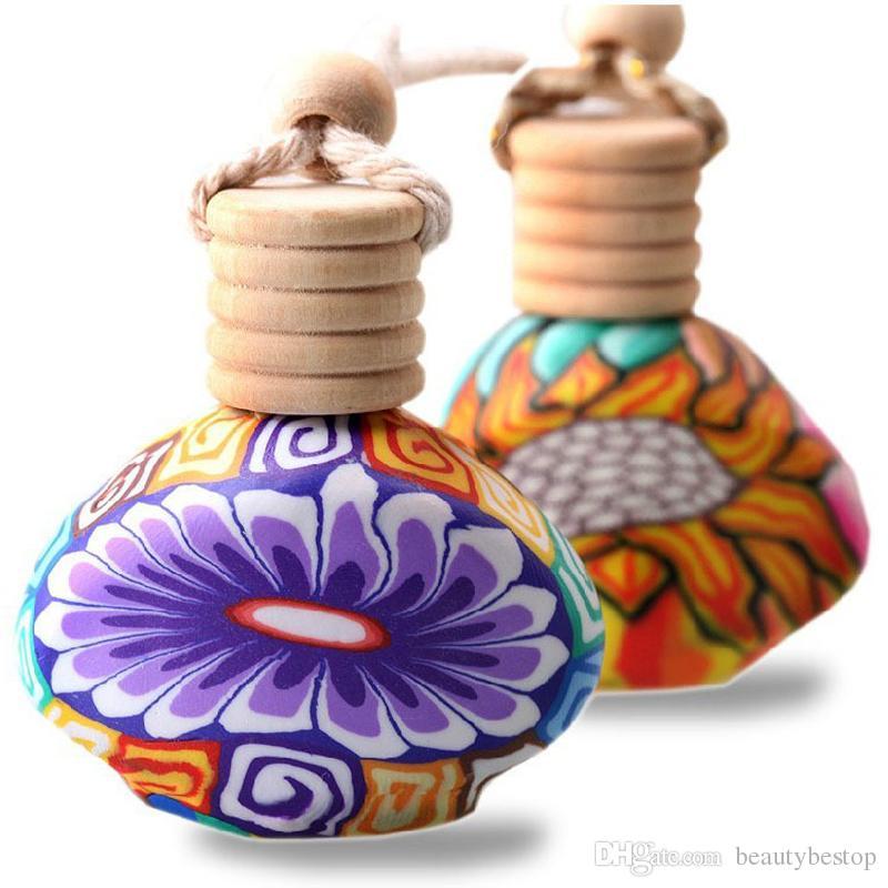 100 adet / grup Mini Araba Parfüm Şişeleri Polimer Kil boş küçük parfüm doldurulabilir şişe Araba Kolye Asılı Sevimli Hava Spreyi Taşıyıcı