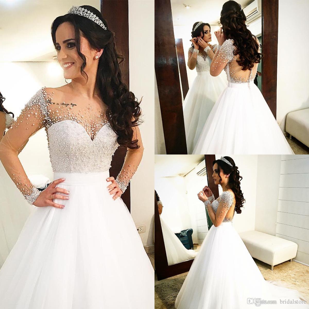 3f9835b51685 Lojas De Vestidos De Cerimonia Branco Elegante Manga Longa Espartilho  Vestidos De Casamento Plus Size Projeto Pérolas Frisada País Requintado  Vestido De ...