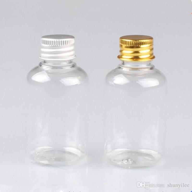 50 ml de Plástico Frascos De Alumínio Tampa de alumínio tampa de garrafas, garrafas De Plástico vazio Garrafa De Embalagem De Viagem transporte rápido F20173194