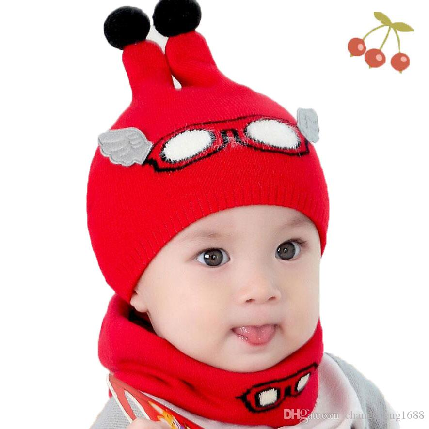 f575ad6bd8c 2019 Baby Boy Caps Winter Girl Hats And Ring Scarves Set Cotton Kids  Beanies Cap Scarf Collar Children Hat Fashion Cartoon Warm Suit MZ6859 From  ...