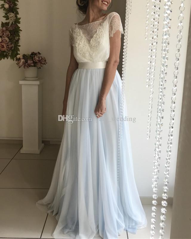 Mixed Color Dusty Blue White Prom Dresses Bateau Neck Short Sleeves Lace Tulle Backless Evening Gowns Floor Length Formal Dresses