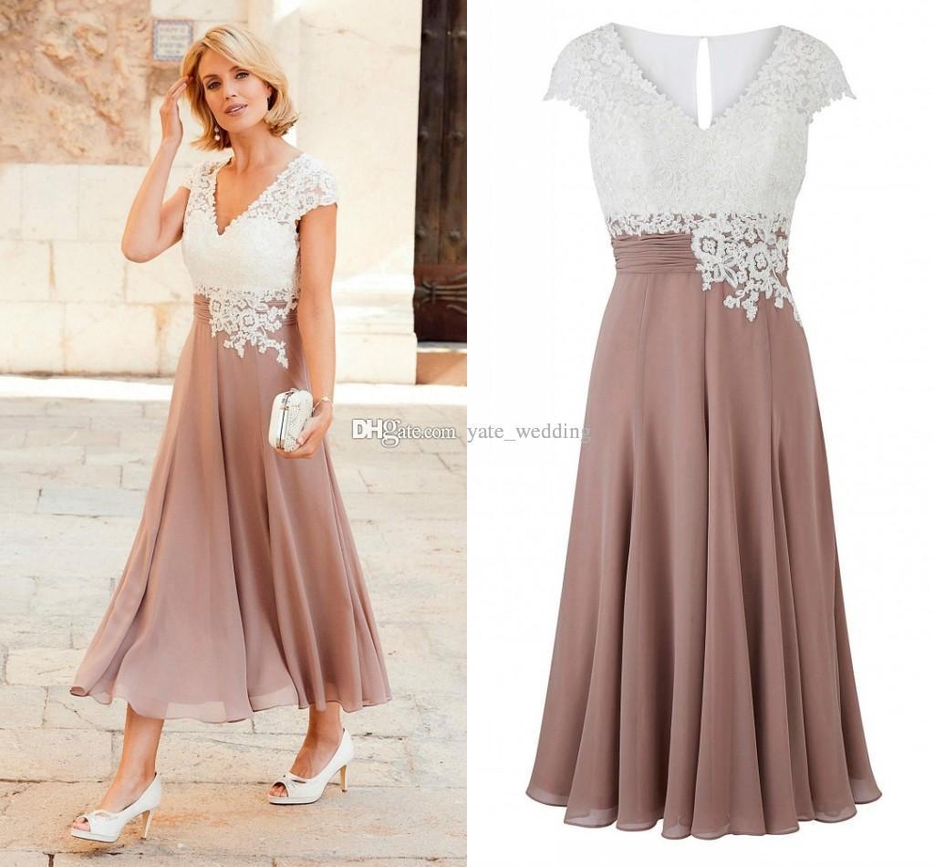 5804d7a642ff ... Of The Bride Dresses V Neck Cap Sleeves Appliques Lace Chiffon Pleated  Tea Length Wedding Guest Dresses Rose White Black Bridal Mother Dresses Plus  Size ...