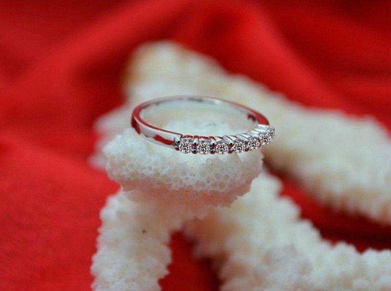 حار بيع أعلى جودة خاتم الخطوبة سونا الماس الاصطناعية للنساء الفضة الجميلة مع 18 كيلو الذهب مطلي الخلود خاتم الزواج