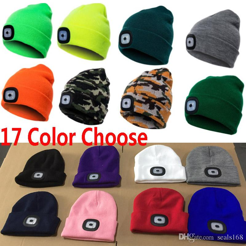 78151fc69 Led Light Knitted Beanies Cap Hats Women Men Winter Warm Crochet ...