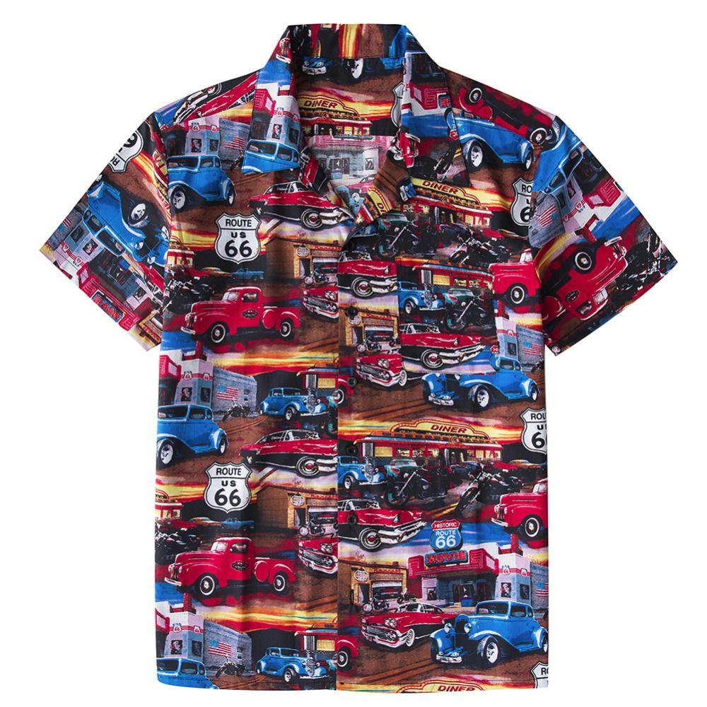 7b109a383f42 Men's Beach Hawaiian Shirt Tropical Summer Classic 50s Cars Route 66 print  Blouse Casual Loose Cotton Button Down Shirts