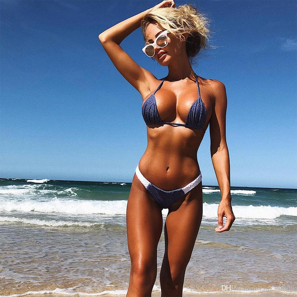 d6dfc47613f8e 2019 Women Summer Sandy Beach Denim Halter Solid Two Piece Suits Bikini  Sexy Fashionable Beautiful High Elasticity Swimwear 8044SW From Yang2016dh,  ...