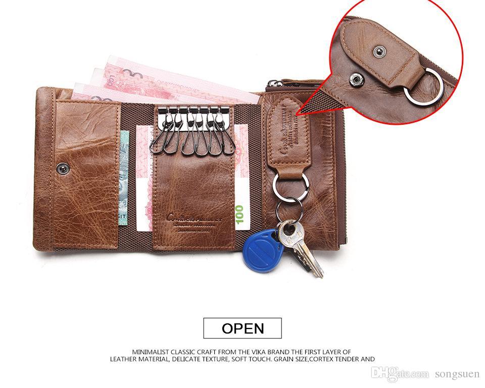 CONTACT'S Hombres Monedero Funda para llaves Titular de la llave Monedero Monedero de cuero genuino Ama de llaves del coche Organizador de bolsas Bolsa pequeña Cartera