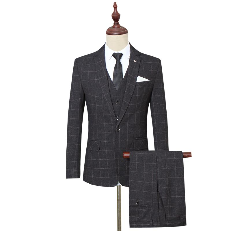 Autumn 2018 Men's Long-sleeved Plaid Suit Jackets with Vests and Trousers Large Size S-5XL Business Wedding Men Formal Suit Set