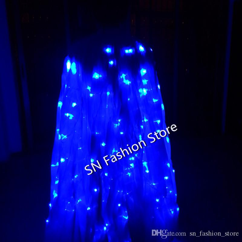 PFful LED luminous cloak /light-up costume/Ballroom lighted wing butterfly dress Belly dance clothes bar party event performance dj
