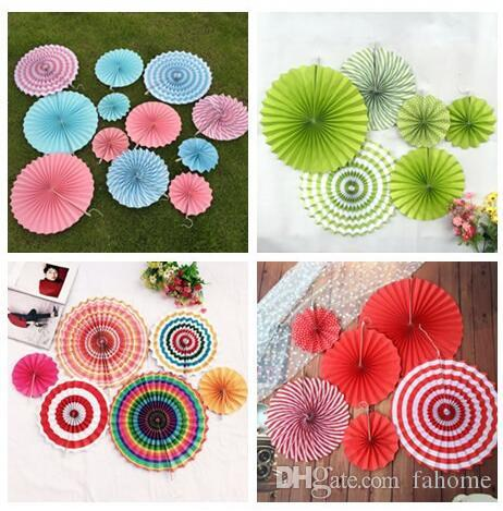 colorful hanging flower paper fan set birthday party wedding festival decoration hanging flower paper crafts decoration online party supply oriental