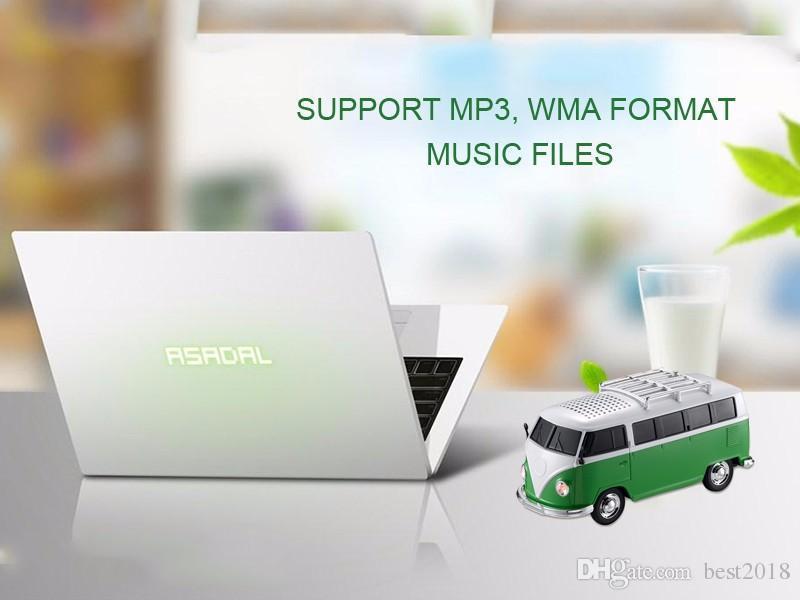 High quality colorful mini speaker car shape mini bus speaker support FM +U disk Insert Card mini speaker MP3 player