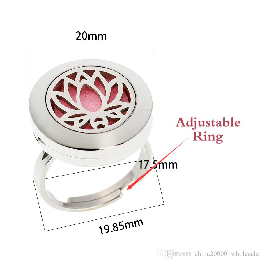 wholesale Fish and Cross Ribbon 20mm 316L Stainless steel Aromatherapy Essential Oil Diffuser Ring Jewelry with free pads