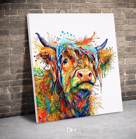 2019 Cow Abstract Art Animal Nature Quality Canvas Hand