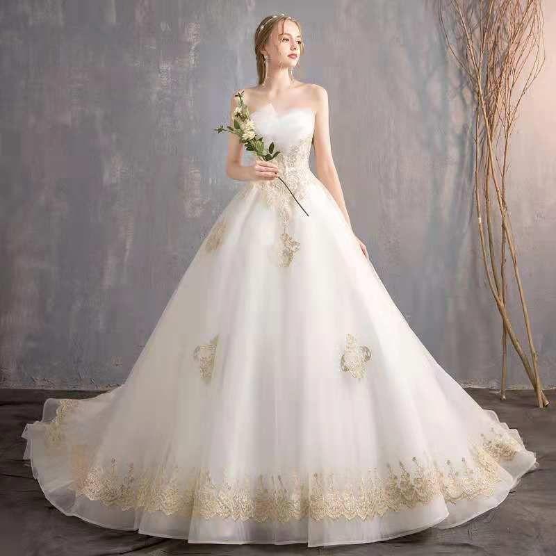 A Line Strapless Sleeveless Big Train Wedding Dress Bridal Gown