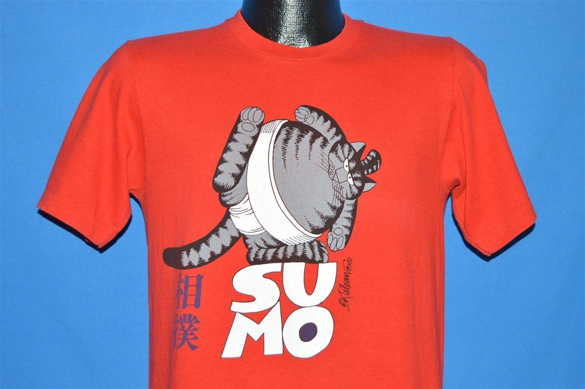 Details zu vintage 80s B KLIBAN FAT CAT SUMO WRESTLER RED HAWAII CRAZY  SHIRTS t-shirt MED M Funny free shipping Unisex Casual